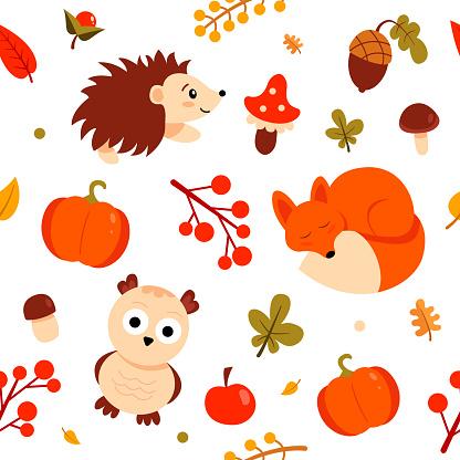 Autumn pattern with wild animals: fox, hedgehog, owl, harvest. Cute vector background.