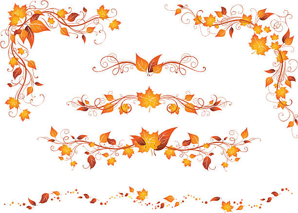 Autumn patterns Ornate elements for your design isolated on a white background  autumn borders stock illustrations