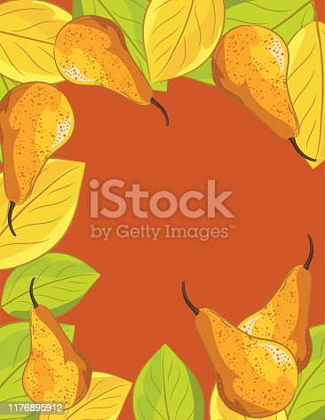 Flat color illustration of fall pears and leaves.