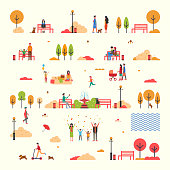 Autumn people fall trees and park isolated set vector. Father and mother with pram, picnic and fountain. Person sitting on bench, walking dog activity