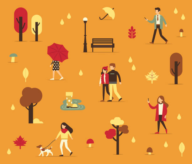 autumn people - kids playing in rain stock illustrations, clip art, cartoons, & icons