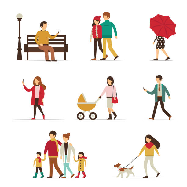 autumn people Autumn people characters collection. Flat style vector illustration. baby shower stock illustrations