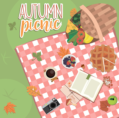 Autumn picnic illustration. Thanksgiving day invitation or greeting card. Fall landscape, leaves and food on red checkered plaid, top view illustration.