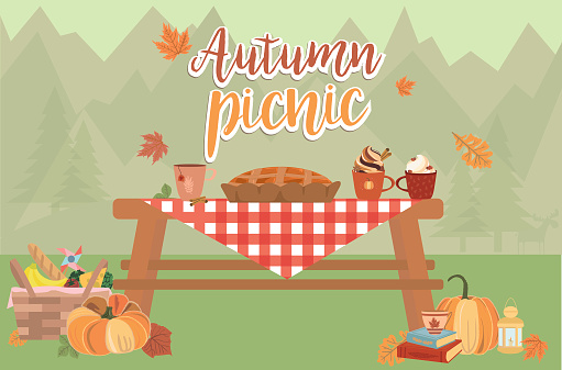 Autumn picnic illustration. Thanksgiving day invitation or greeting card. Fall landscape, leaves and food on red checkered plaid