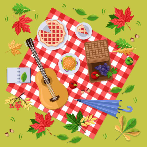Autumn picnic in park or forest. Fall landscape, leaves and food on red plaid, top view illustration. Vector background. Autumn picnic in park or forest. Fall landscape, leaves and food on red checkered plaid, top view illustration. Vector thanksgiving background. picnic stock illustrations