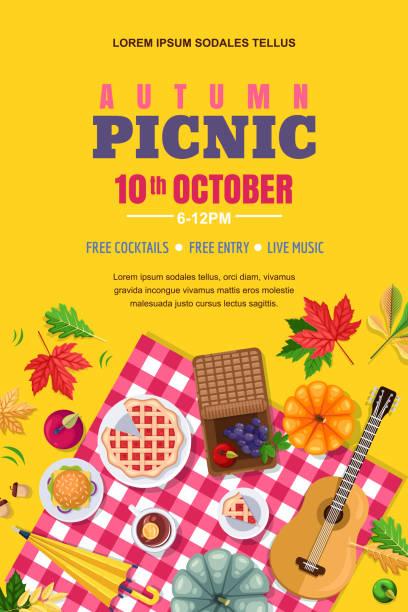 Herbst Picknick, Vektor-Poster, Banner-Layout. Im freien Urlaub Wochenende und Danksagung Hintergrund. – Vektorgrafik