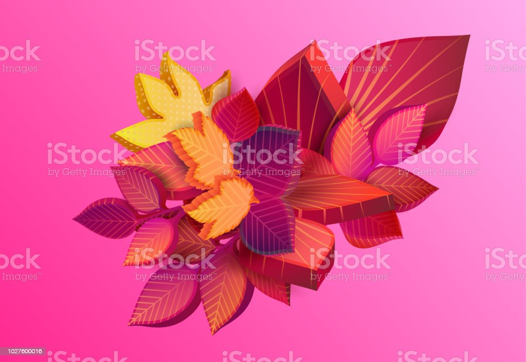Autumn Pink Background With Beautiful 3d Leaves Stock Illustration