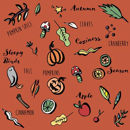 Autumn Plants Cozy Doodle Background with Lettering