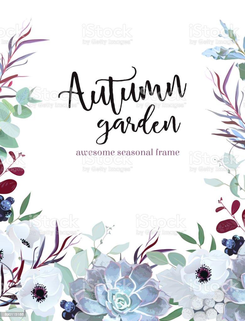 Plantas de otoño vector diseño de marco de anémona, eucalyp - ilustración de arte vectorial