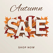 Autumn promotional sale design for advertising, banners, leaflets and flyers. Stock illustration