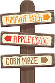 Vector illustration of a Autumn Pumpkin Patch, Apple Picking and corn maze wooden signpost.