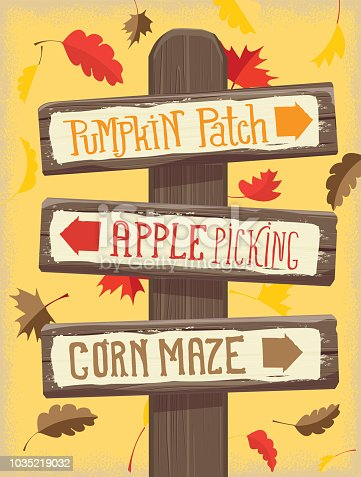 Vector illustration of a Autumn Pumpkin Patch, Apple Picking and corn maze wooden signpost. Colorful leaves in background.