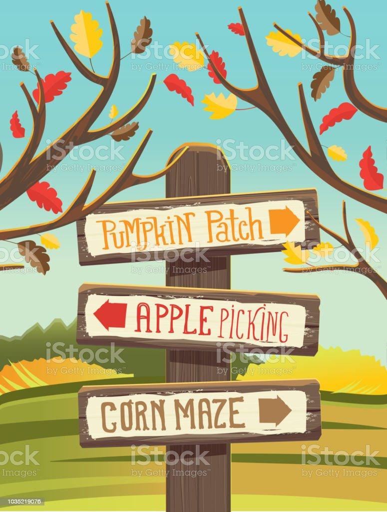 Autumn Pumpkin Patch, Apple Picking and corn maze wooden signpost vector art illustration