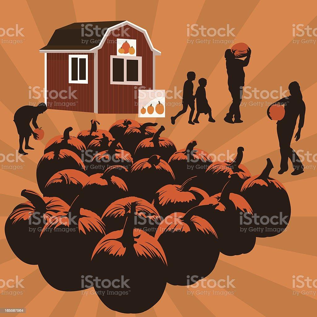 Autumn Pumpkin Patch Family Fun vector art illustration