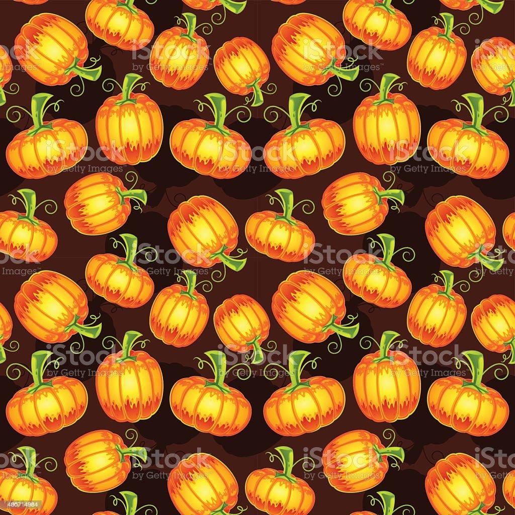 Autumn Pumpkin Seamless Pattern vector art illustration