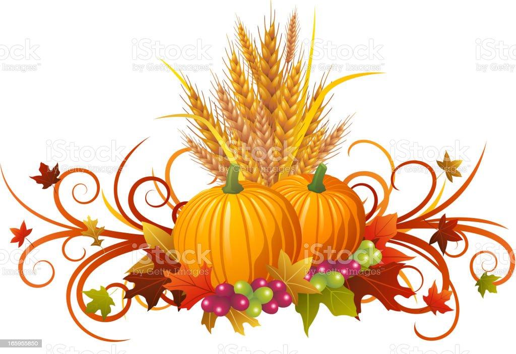 Autumn Pumpkins Decoration royalty-free stock vector art