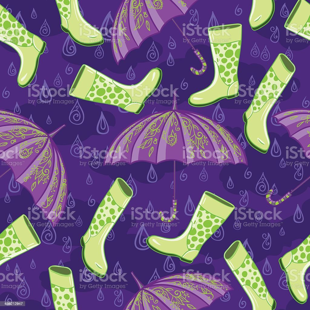 Autumn rain pattern vector art illustration