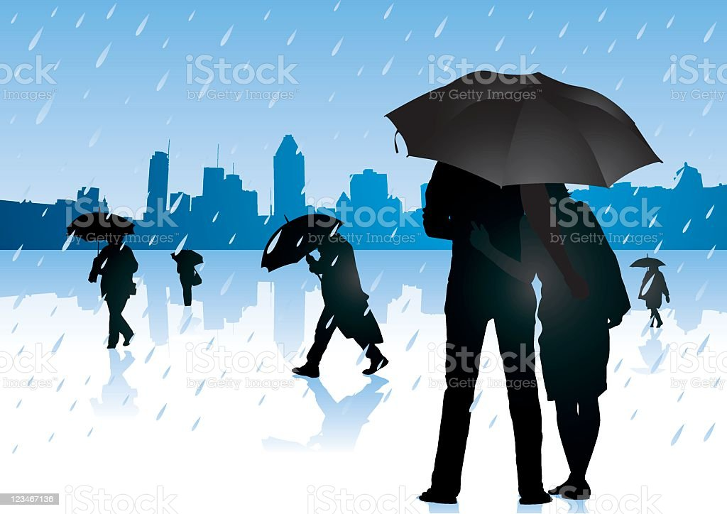 Autumn rain vector art illustration