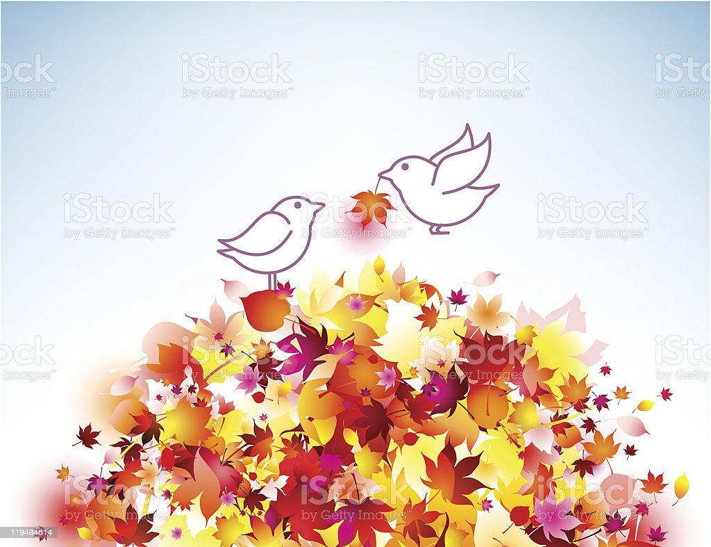 秋のロマンチックなイラストになると鳥 やわらかのベクターアート素材