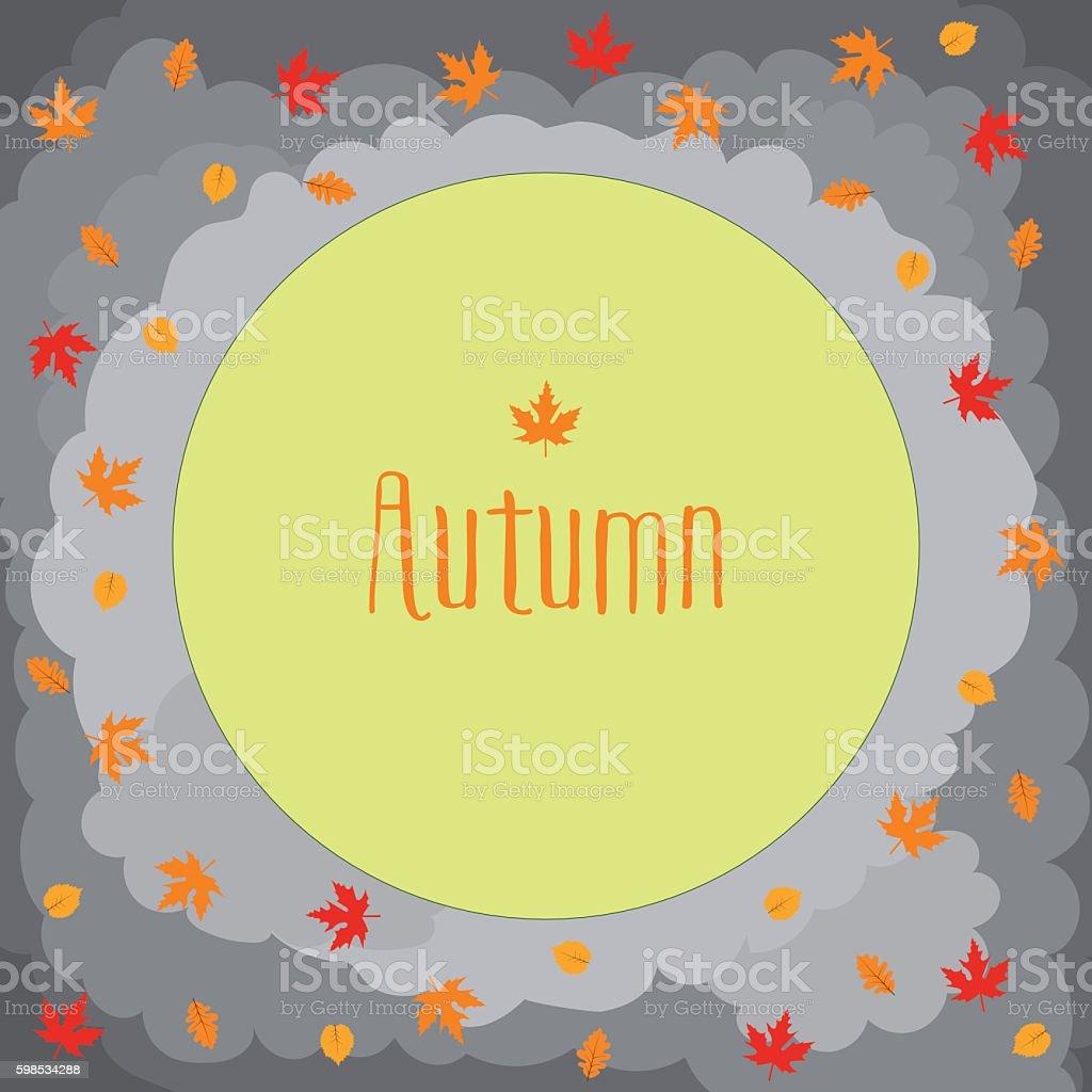 Autumn round with cute leaves, mushrooms, pumpkin and other autumnal autumn round with cute leaves mushrooms pumpkin and other autumnal – cliparts vectoriels et plus d'images de arbre libre de droits