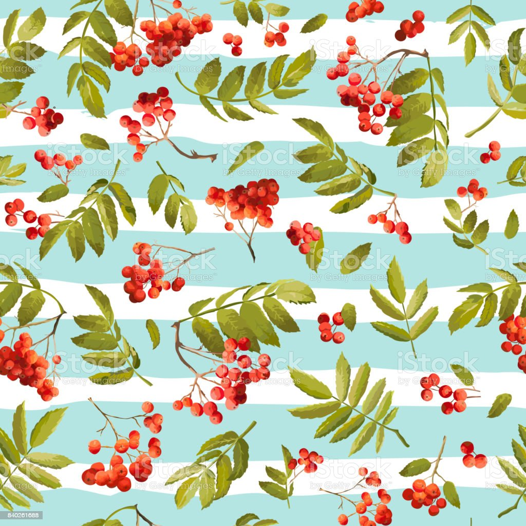 Autumn Rowanberry Seamless Background Floral Fall Pattern With