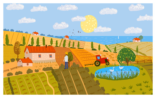 Autumn Rural landscape fields farm on the hill, horizon. Fall seasone, countryside panorama view. Vector illustration hand drawn isolated