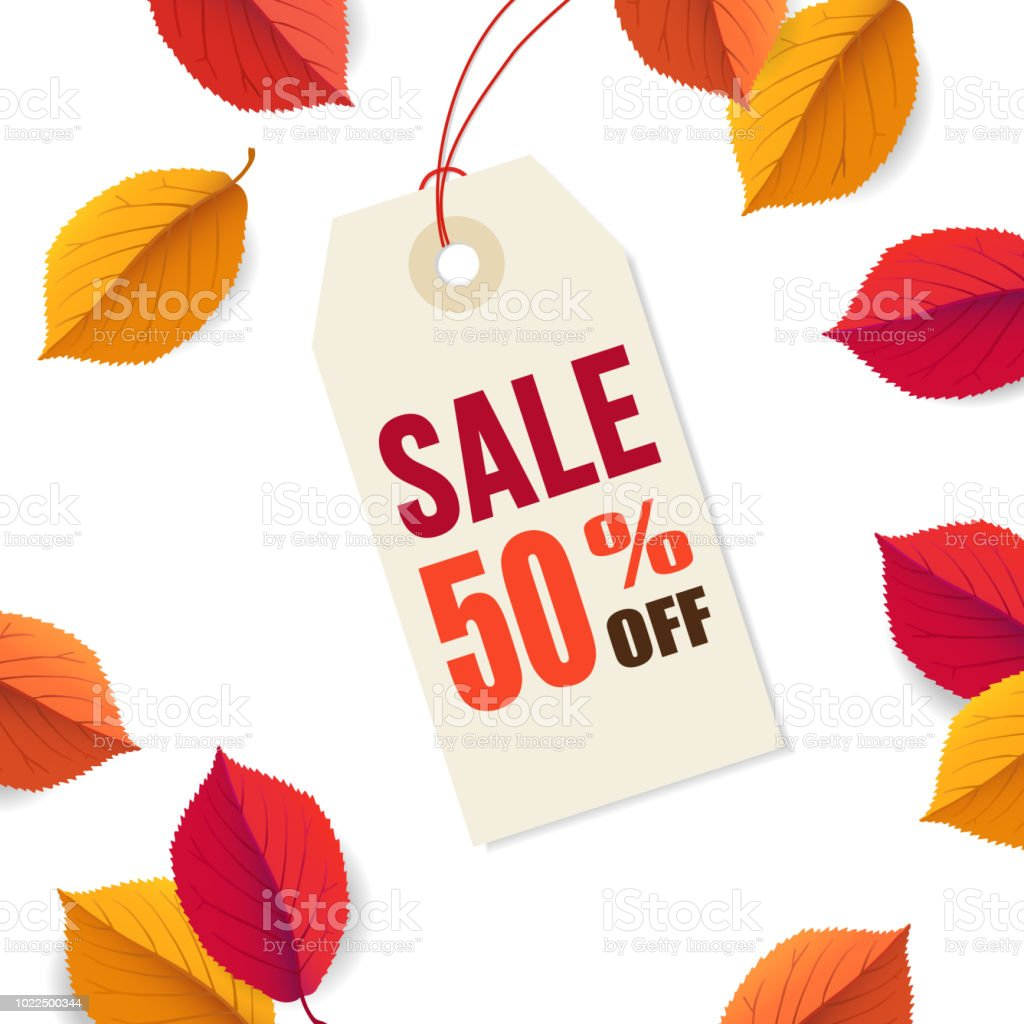 autumn sale 50 off tag template falling bright colorful leaves
