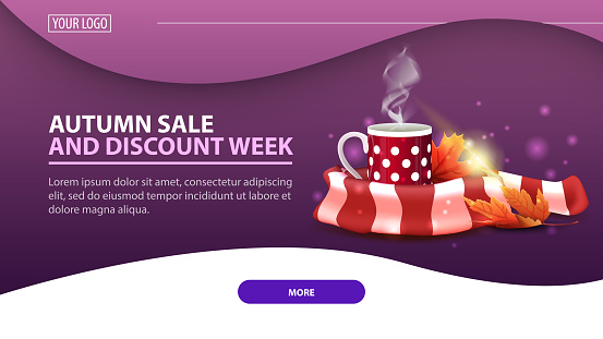 Autumn sale and discount week, modern discount web banner for the site with mug of hot tea and warm scarf