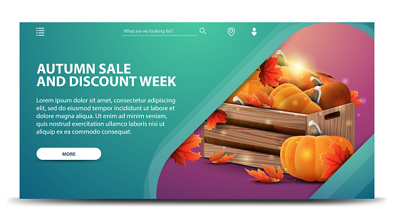 Autumn sale and discount week, modern green web banner for your website with wooden crates of ripe pumpkins and autumn eaves