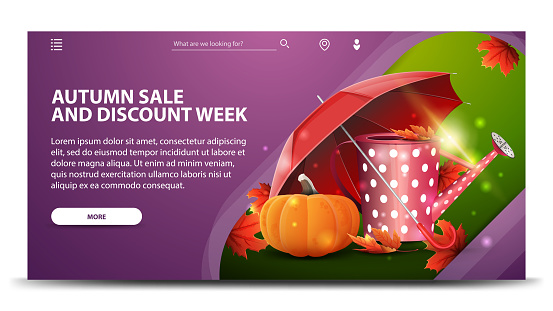 Autumn sale and discount week, modern purple web banner for your website with garden watering can, umbrella and ripe pumpkin
