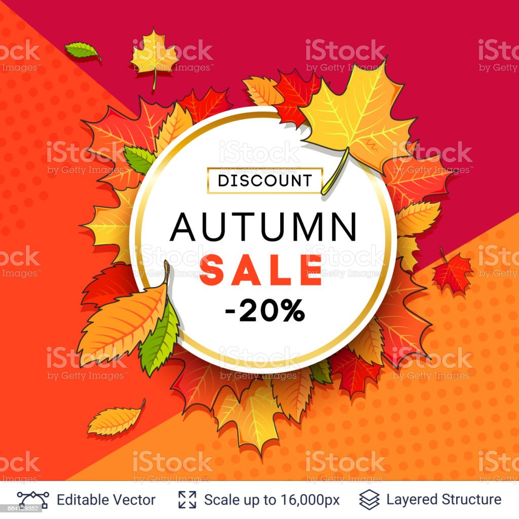 Autumn sale background template. royalty-free autumn sale background template stock vector art & more images of abstract