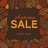 Autumn sale background template with leaves - For advertising, banners, leaflets and flyers - Illustration
