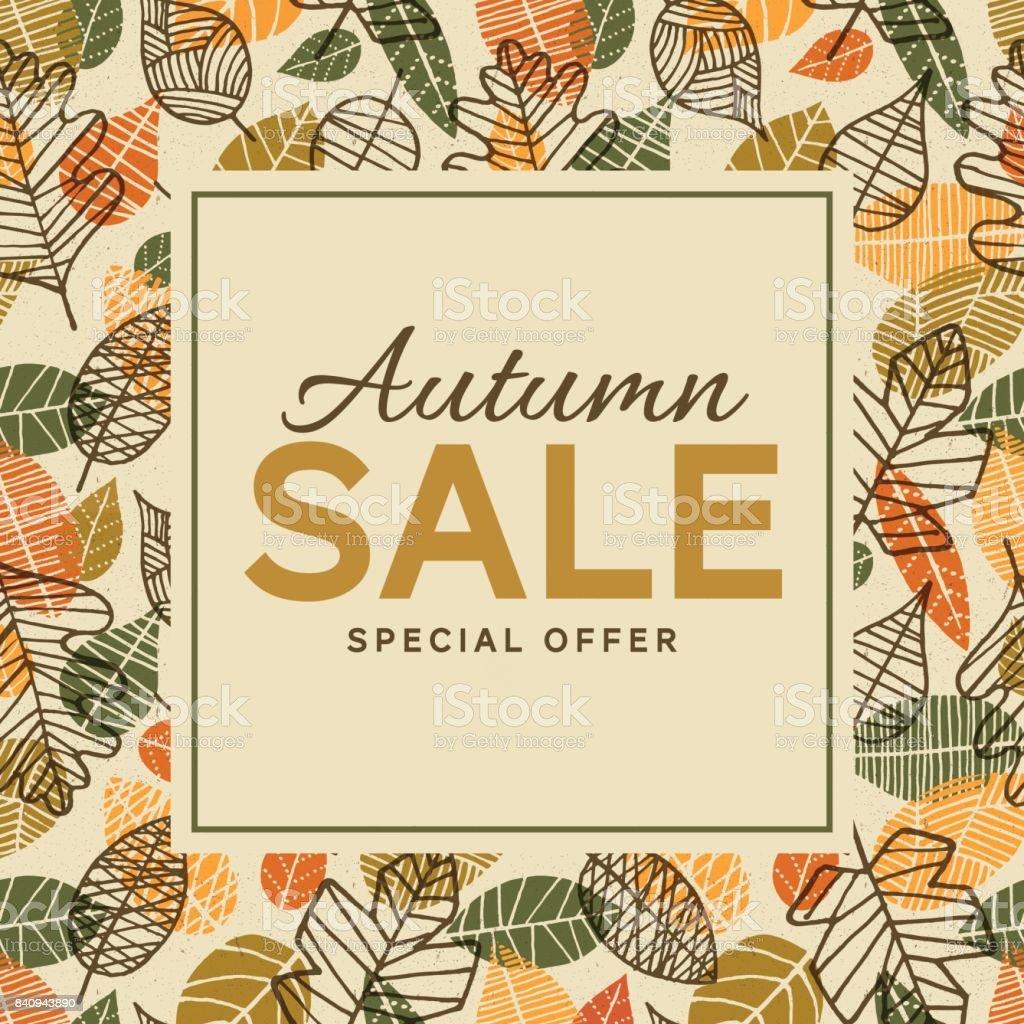 葉と秋の販売背景テンプレート ベクターアートイラスト