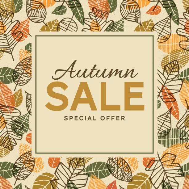葉と秋の販売背景テンプレート - 休日/季節ごとのイベント点のイラスト素材/クリップアート素材/マンガ素材/アイコン素材