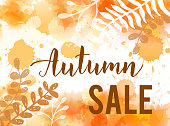 """Watercolor  background with handwritten modern calligraphy text """"Autumn sale"""".   Floral botanical leaves decoration. Sale promotion trendy banner"""