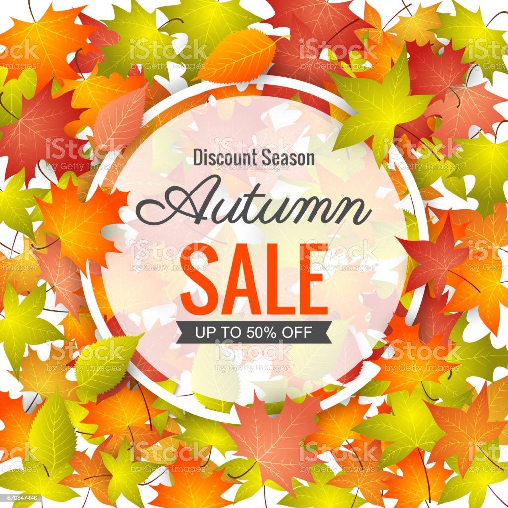 Autumn Sale Background. vector art illustration