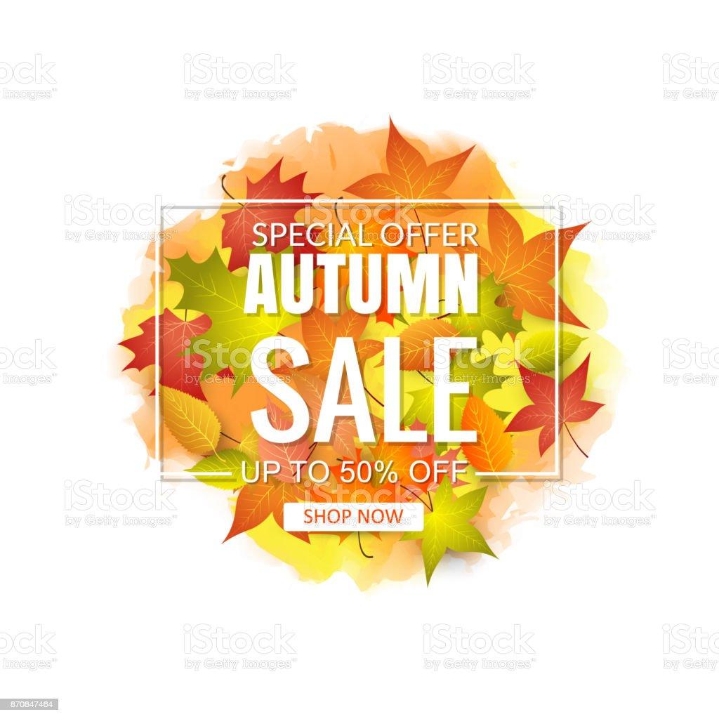 Autumn Sale Background vector art illustration