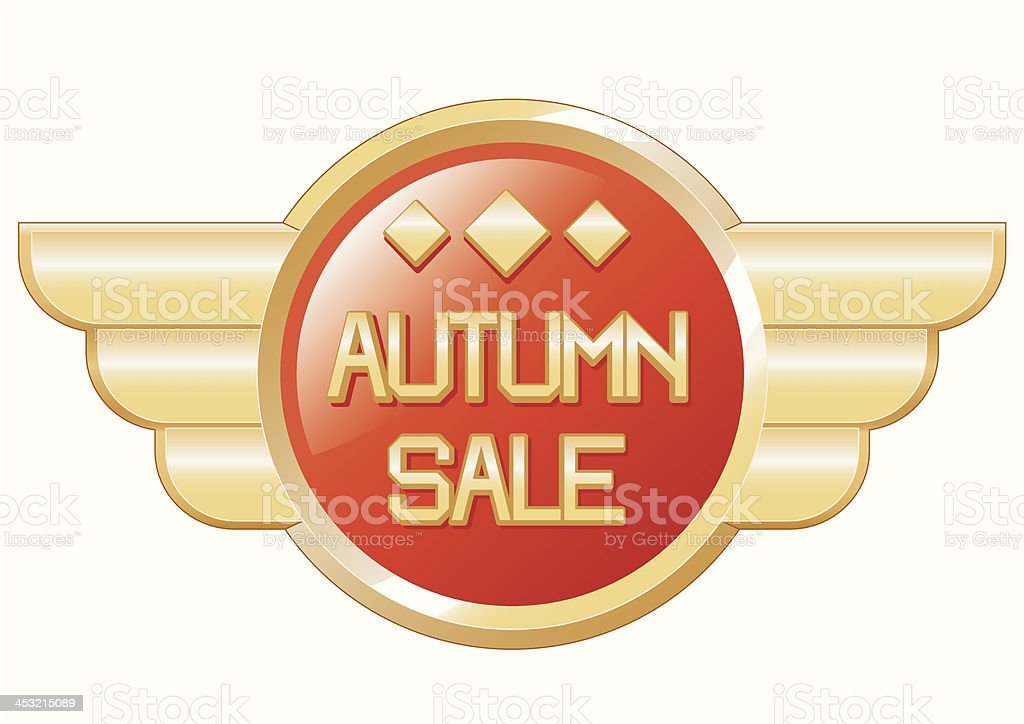 autumn sale badge with wings royalty-free stock vector art