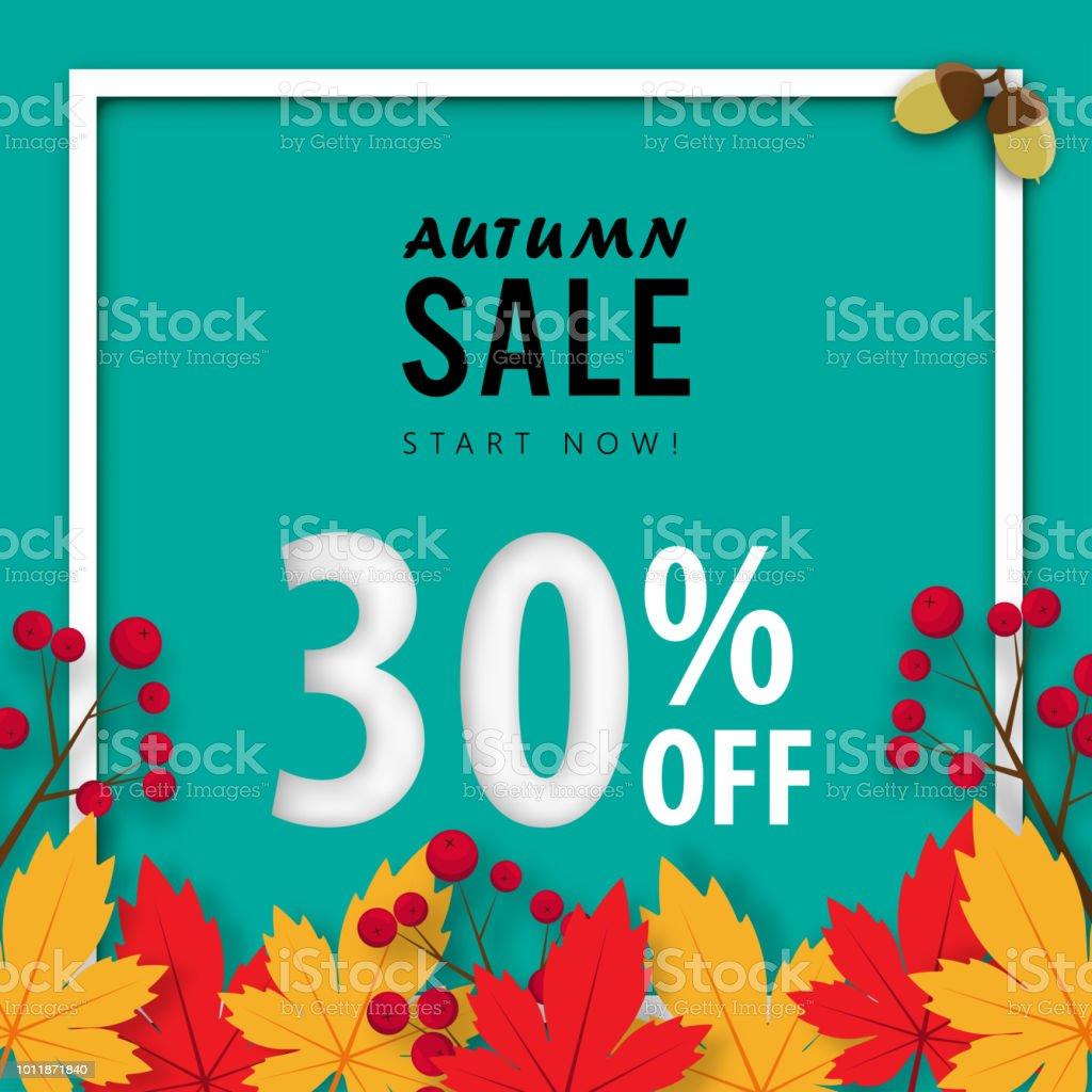 Autumn Sale Banner Background Thirty Percent Sale Off With