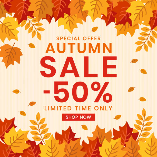 Autumn Sale banner background with leaves. Autumn background and text Autumn Sale. Poster, card, flyer, label, banner design. fall background stock illustrations