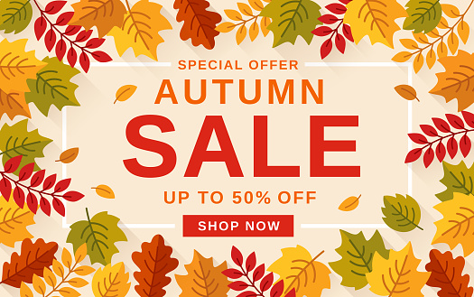Autumn background and text Autumn Sale. Poster, card, flyer, label, banner design.