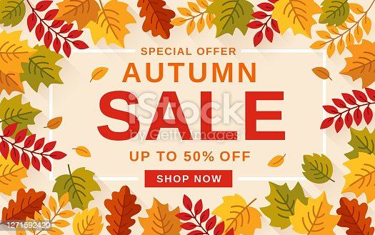 istock Autumn Sale banner background with leaves. 1271592420