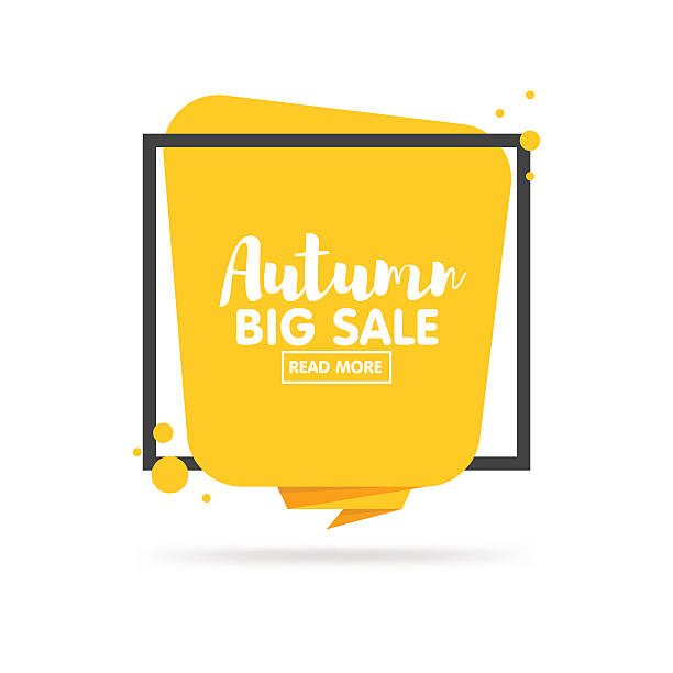autumn sale banner. origami style paper design. - 카드 인쇄 매체 stock illustrations