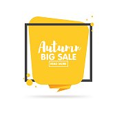Autumn sale banner. Origami style paper design.