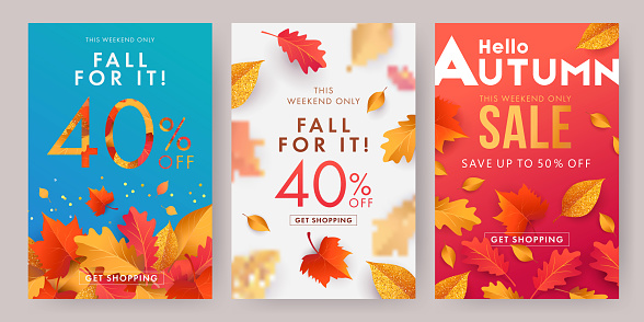 Autumn sale banner, poster or flyer set. Vector illustration with frame of bright beautiful leaves on white, blue and red background.