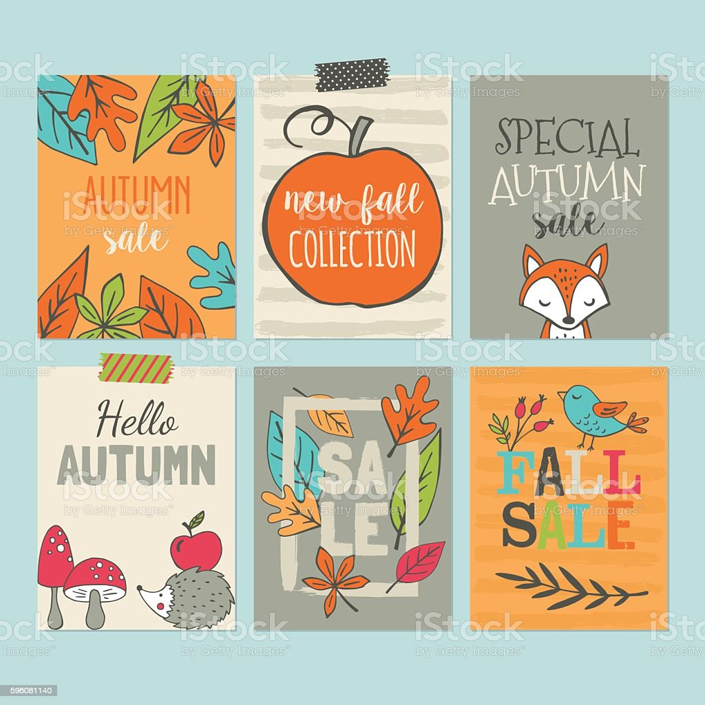 Autumn sale banner set with hand drawing elements vector art illustration