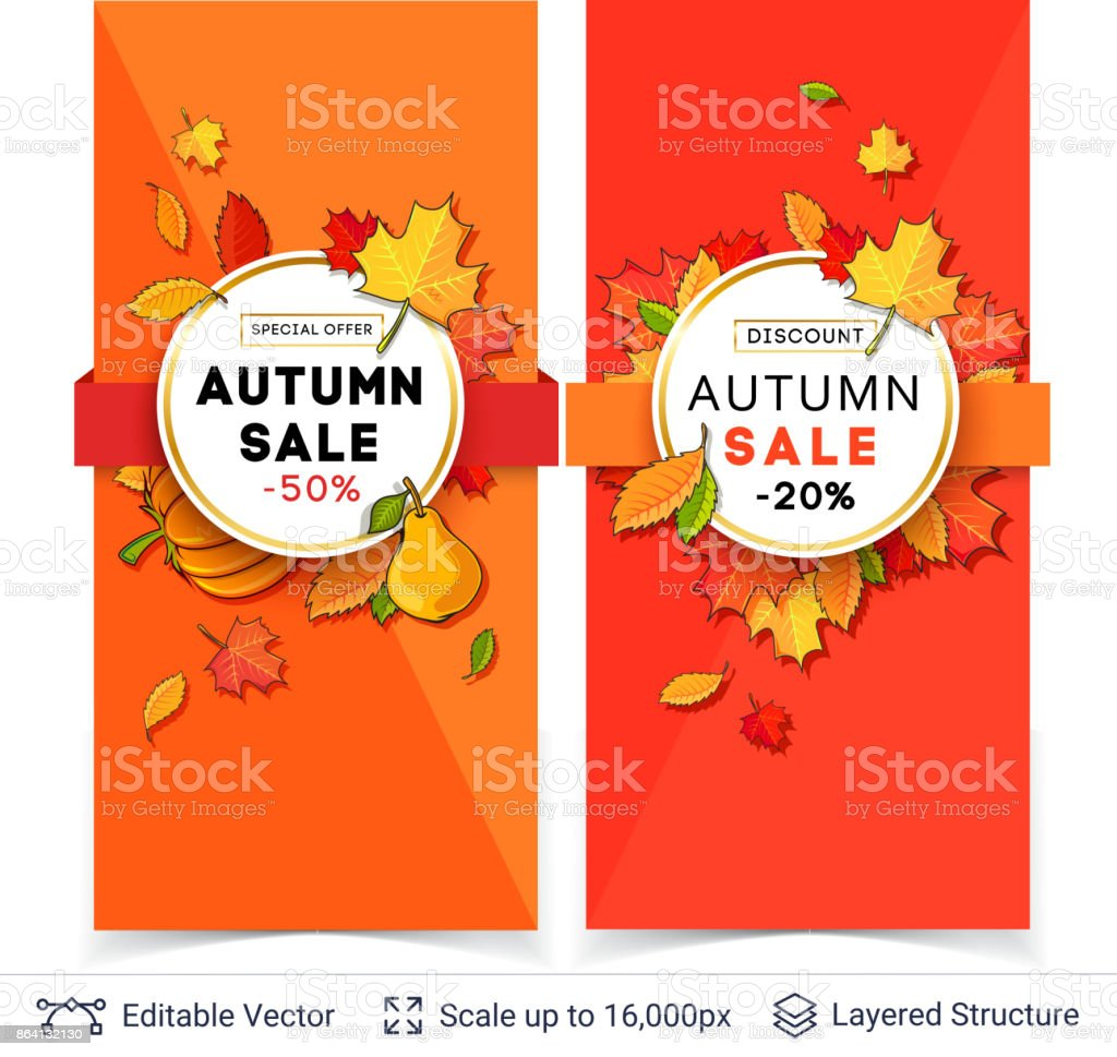 Autumn sale banner template. royalty-free autumn sale banner template stock vector art & more images of abstract