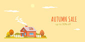 autumn sale banner, picture of a house with trees, rural landscape, flat style illustration