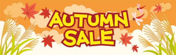 illustrazioni stock, clip art, cartoni animati e icone di tendenza di autumn sale banner - miscanthus sinensis