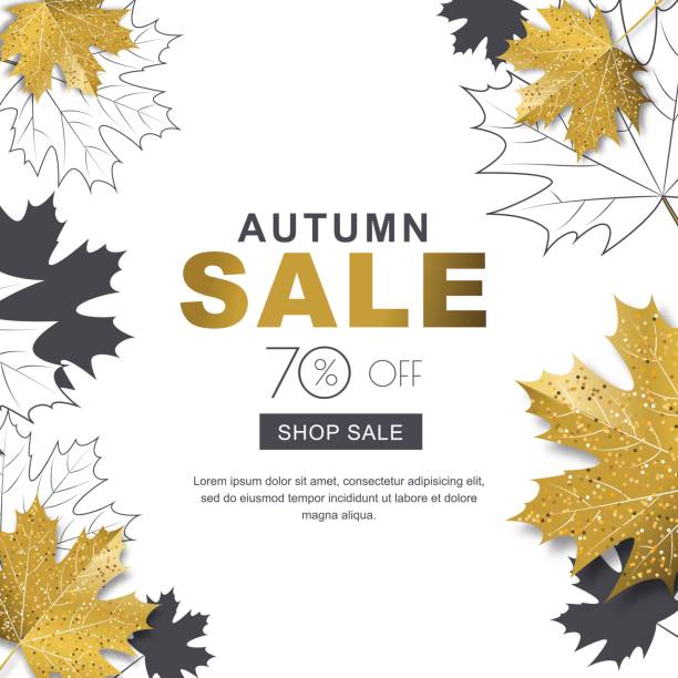 Autumn sale banner with 3d style gold and outline maple autumn leaves. Vector fall poster golden background. vector art illustration